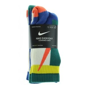 Nike Boys Cushioned Color Pop Crew Socks 3 Pair